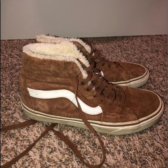 Brown Faux Fur High Top Vans | Poshmark